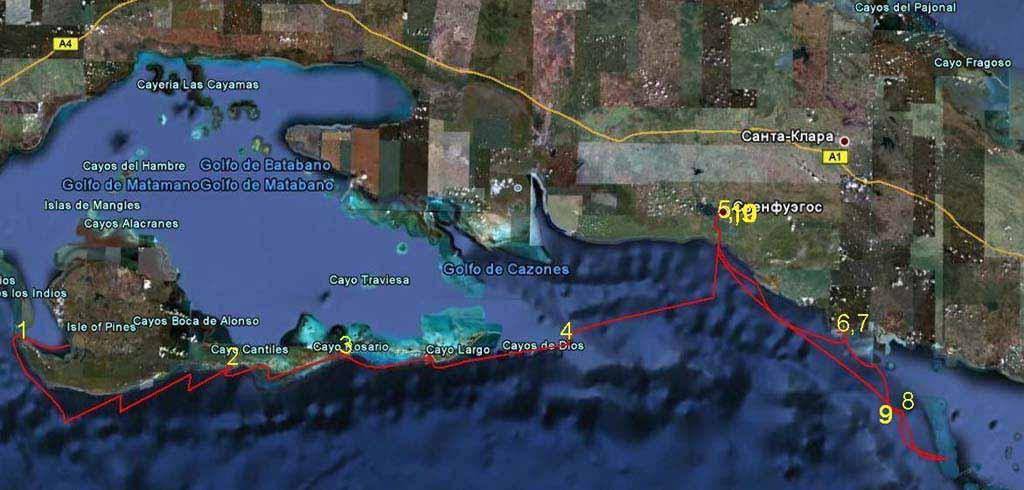 Маршрут пройденный по Кубе на катамаране. Желтые цифры номера ночных стоянок.