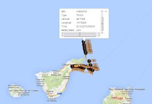 Положение яхты на 5:59 по Канарскому времени